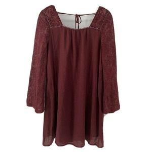 The Cove Burgundy Red Long Sleeve Dress Medium